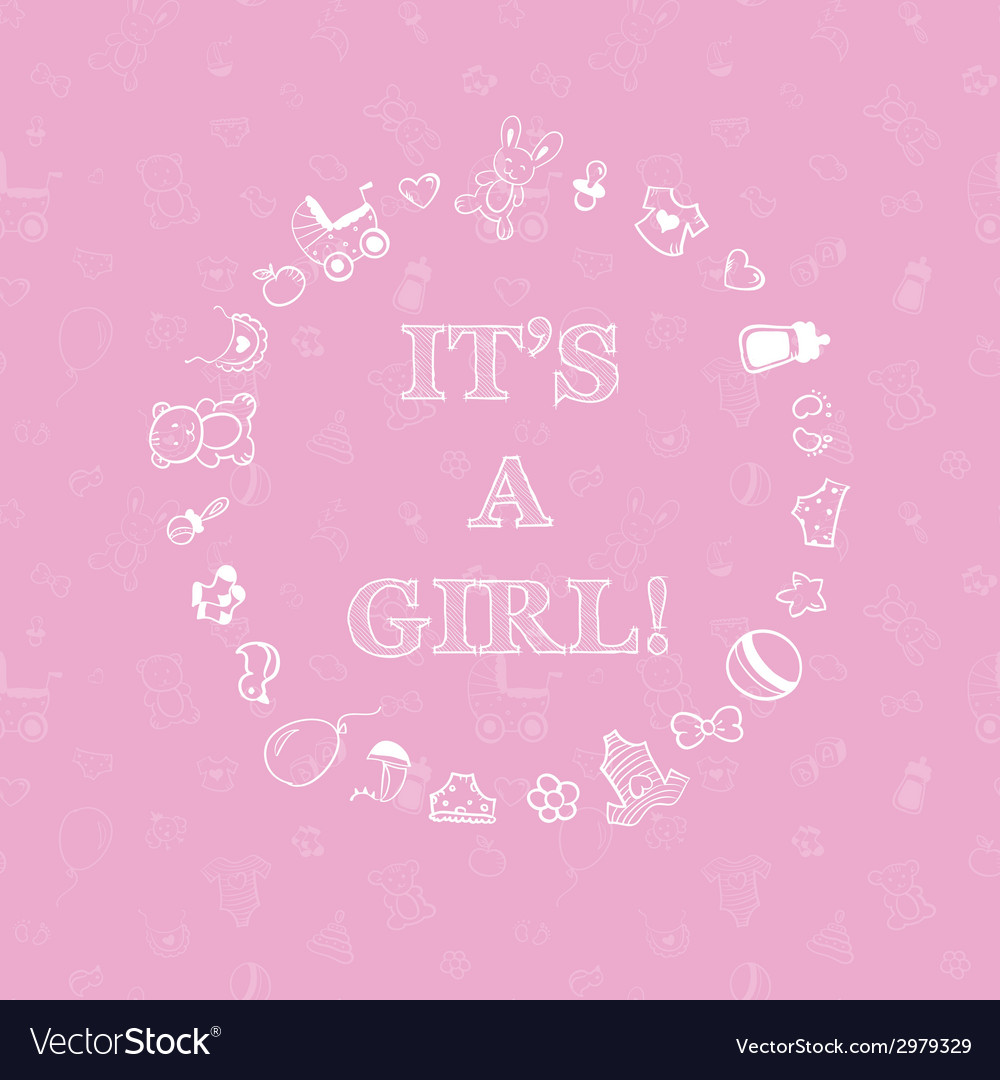 Baby shower design over pink background with vector | Price: 1 Credit (USD $1)