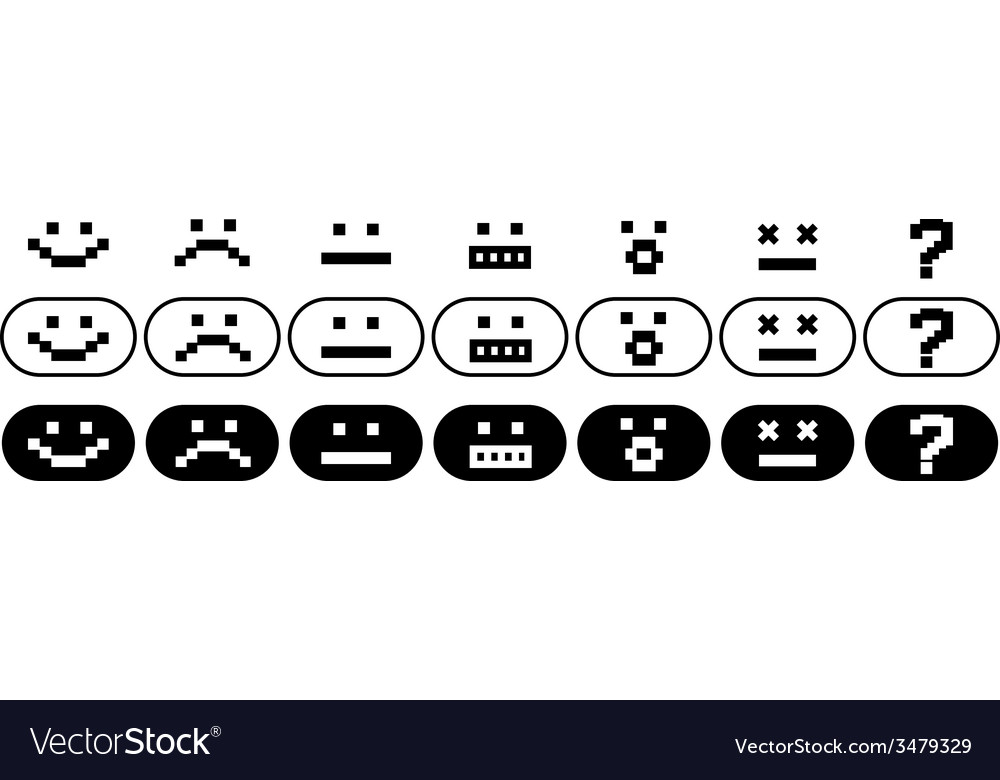 Black and white pixel smiles set vector | Price: 1 Credit (USD $1)