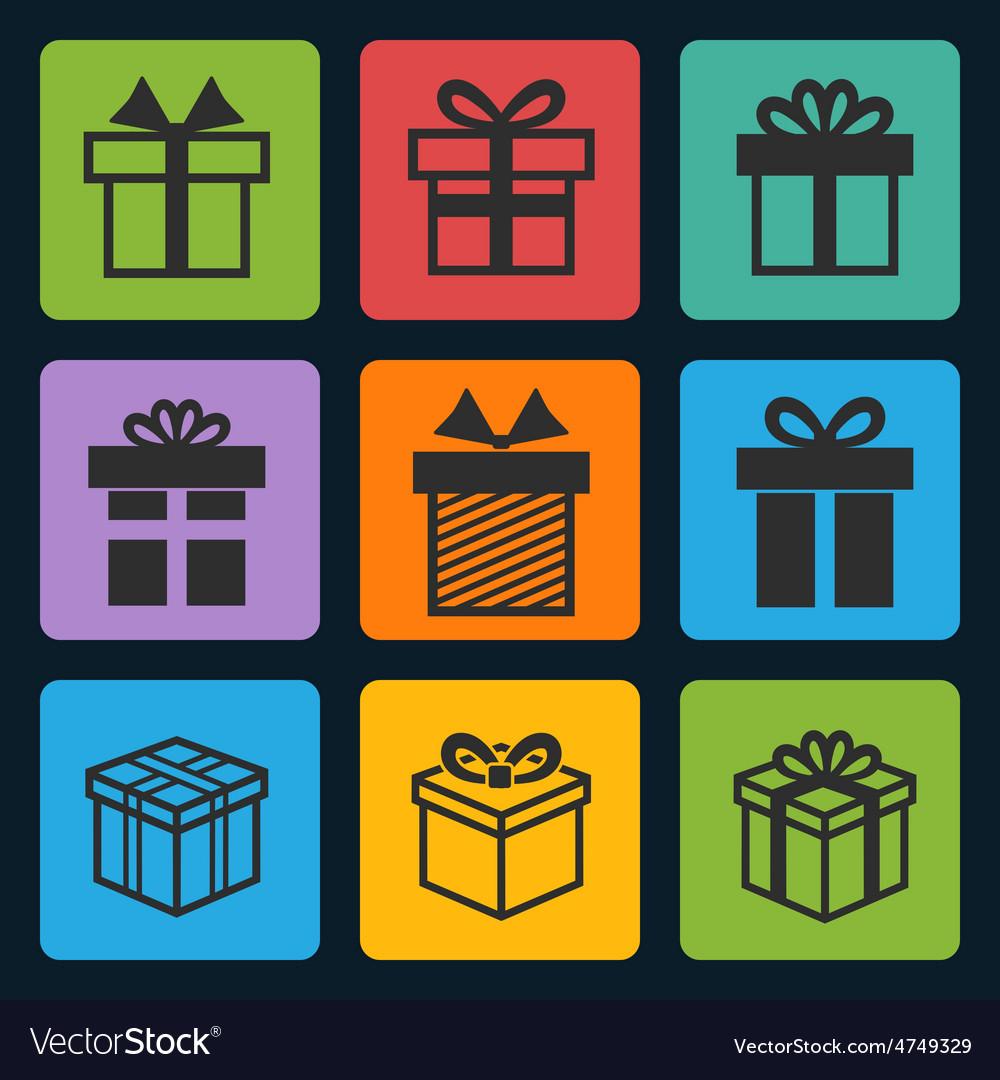 Black gift box icons set vector   Price: 1 Credit (USD $1)