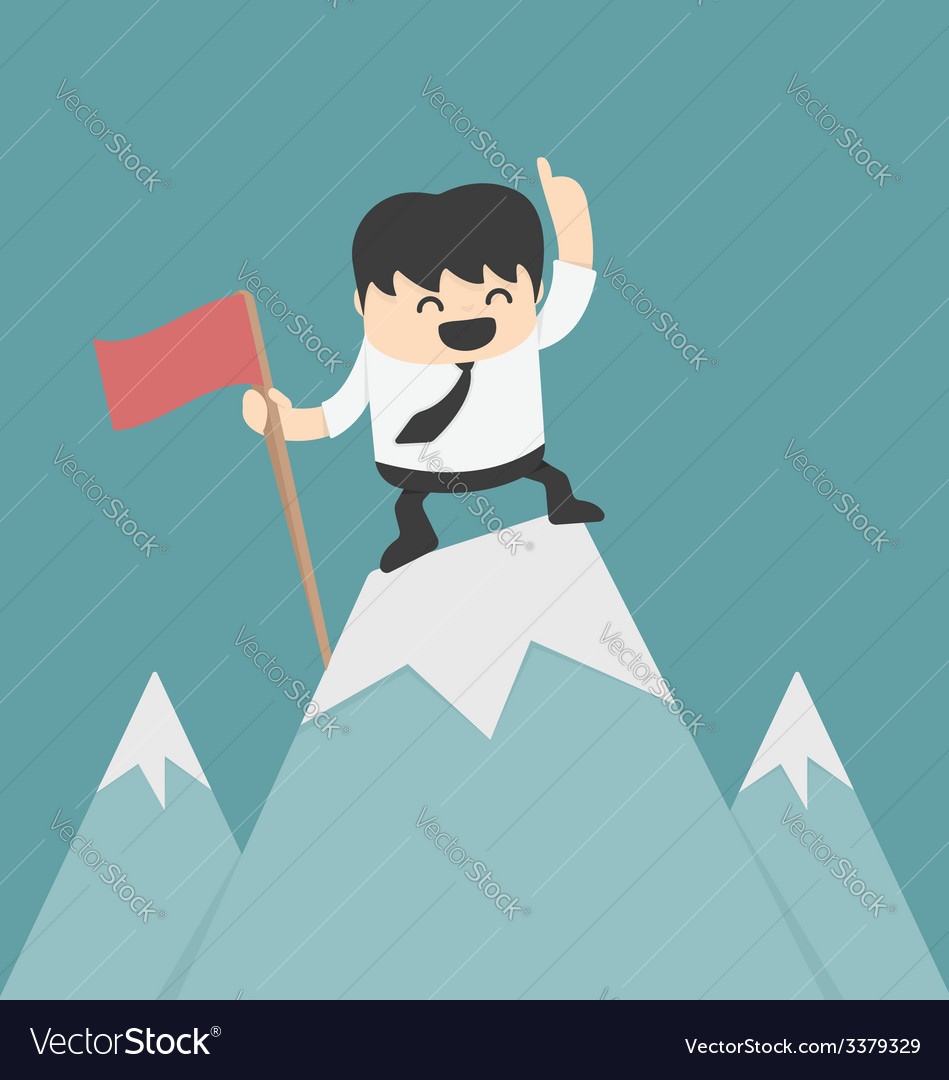 Businessman planting flag high peak vector | Price: 1 Credit (USD $1)