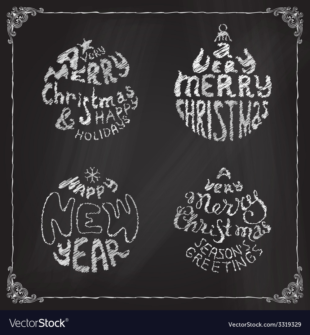 Chalk a very merry christmas and happy new year vector | Price: 1 Credit (USD $1)