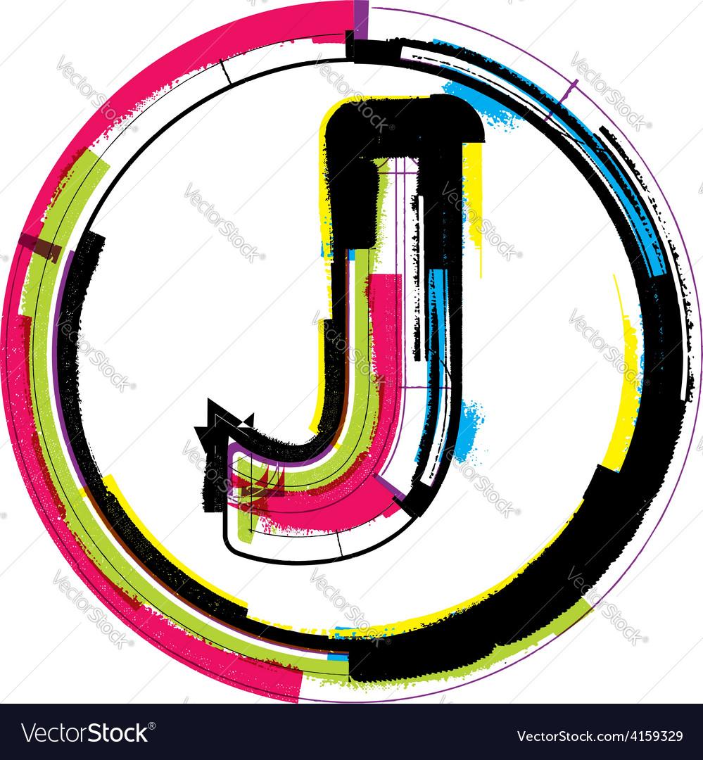 Colorful grunge font letter j vector | Price: 1 Credit (USD $1)