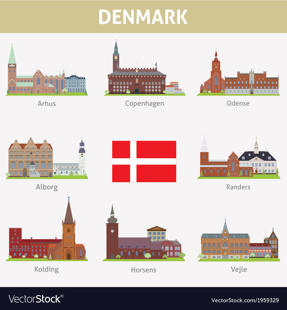 Denmark symbols of cities vector | Price: 1 Credit (USD $1)