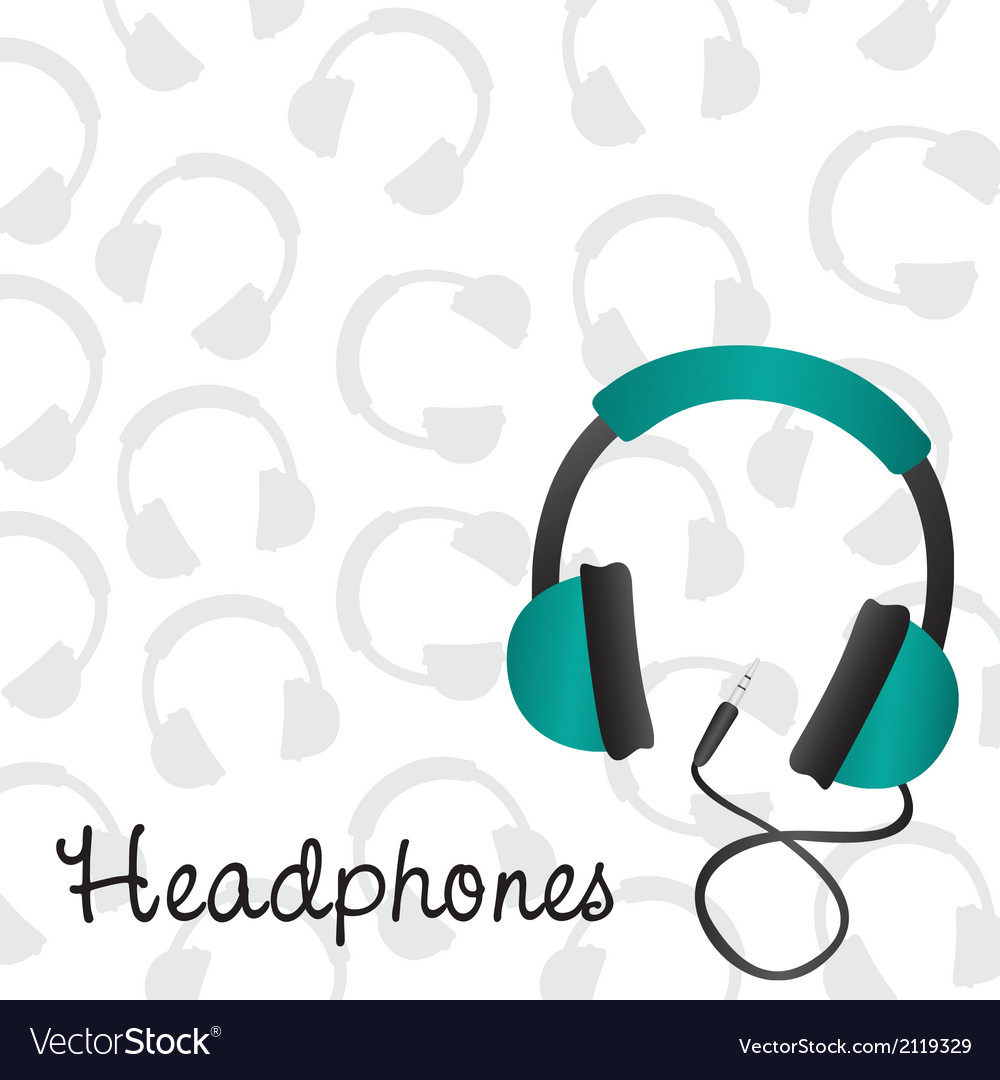 Headphones turquoise background pattern on headpho vector | Price: 1 Credit (USD $1)