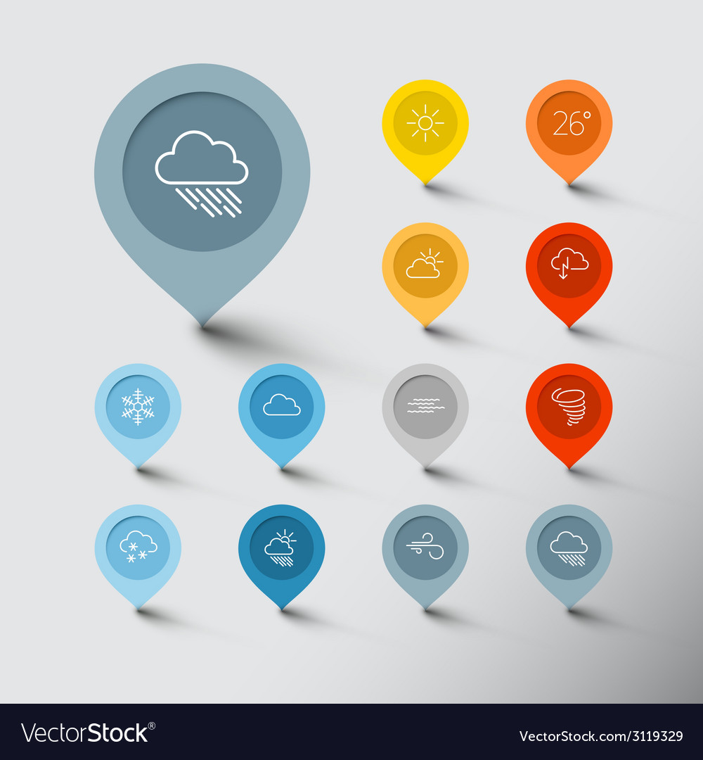 Minimalistic weather thin line pointer icon set vector | Price: 1 Credit (USD $1)