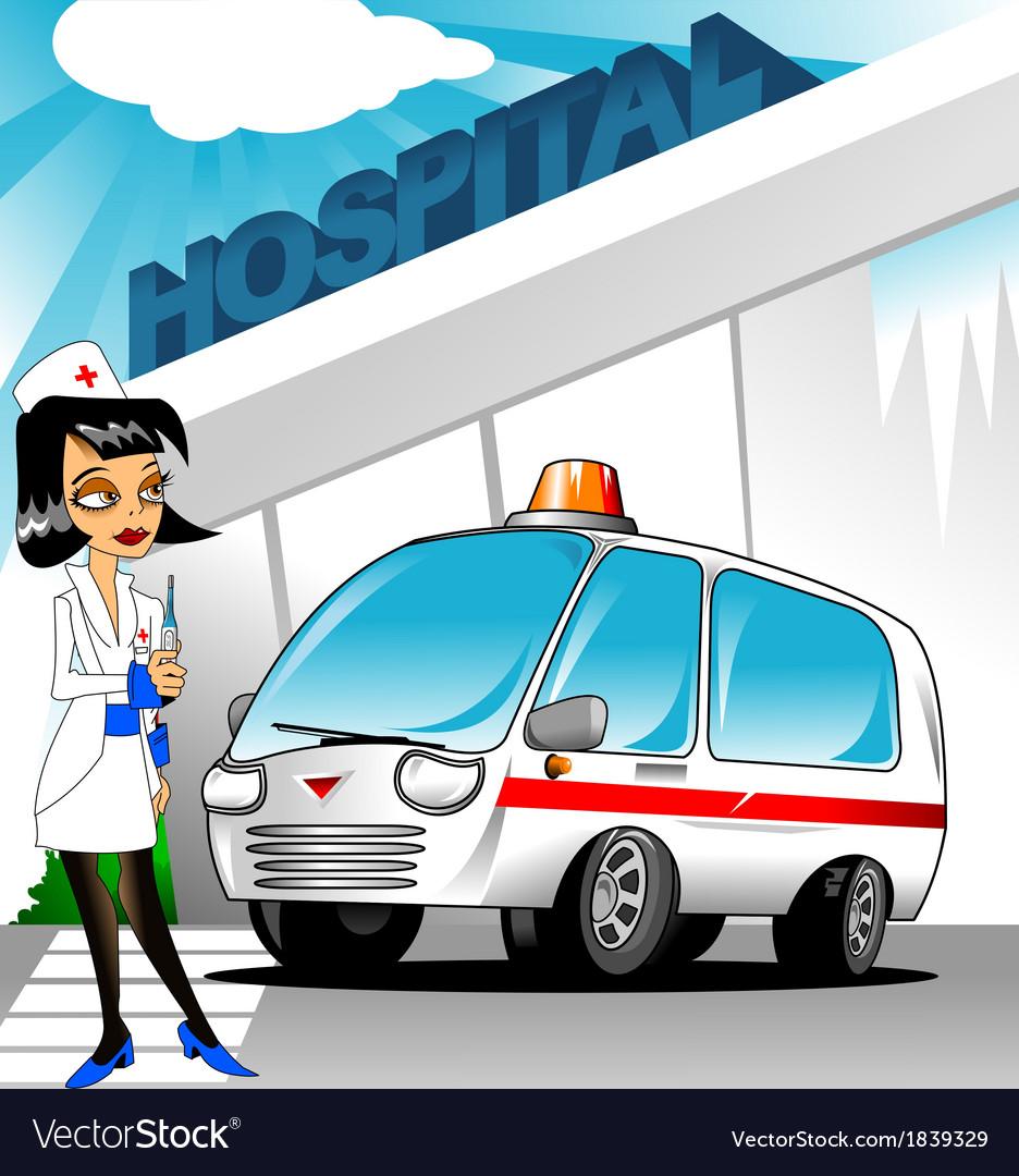 Nurse outside hospital vector | Price: 1 Credit (USD $1)