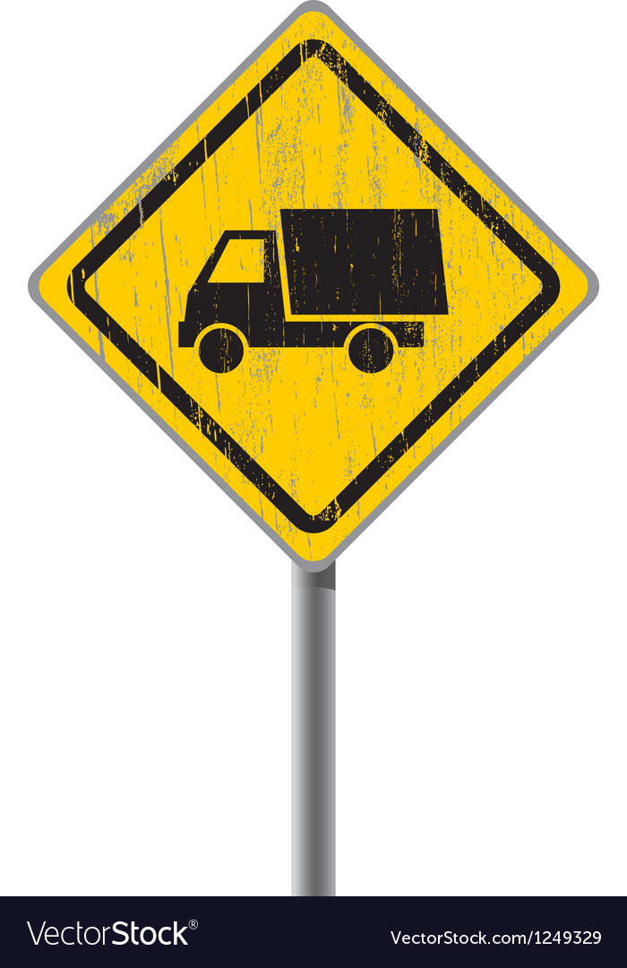 Old road sign with a truck vector | Price: 1 Credit (USD $1)