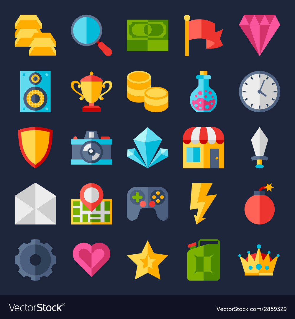 Set of game icons in flat design style vector | Price: 1 Credit (USD $1)