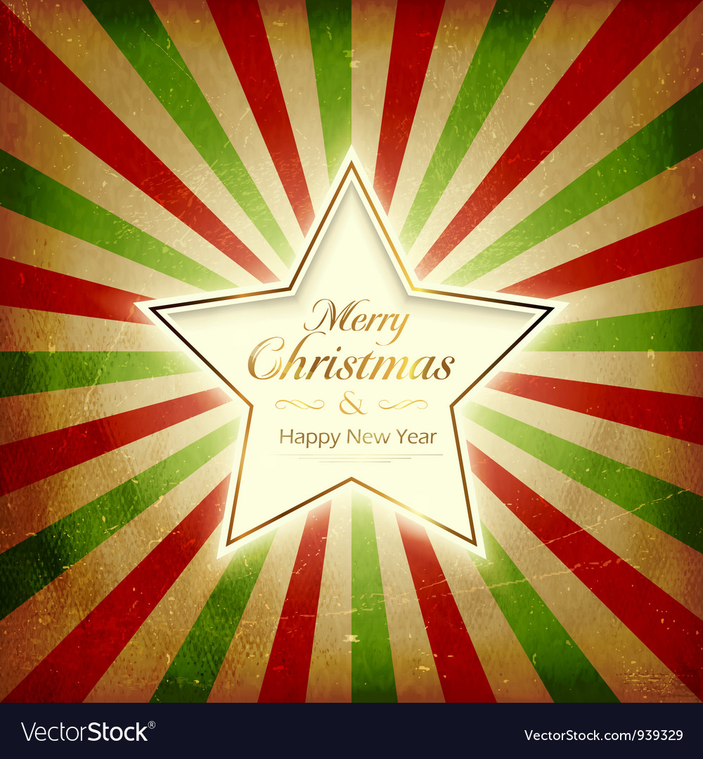 Vintage light burst christmas card with star vector | Price: 1 Credit (USD $1)