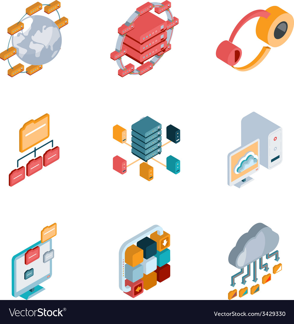Big data analysis icons vector | Price: 1 Credit (USD $1)