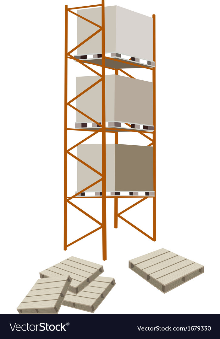 Cargo shelf with shipping box and pallet vector | Price: 1 Credit (USD $1)