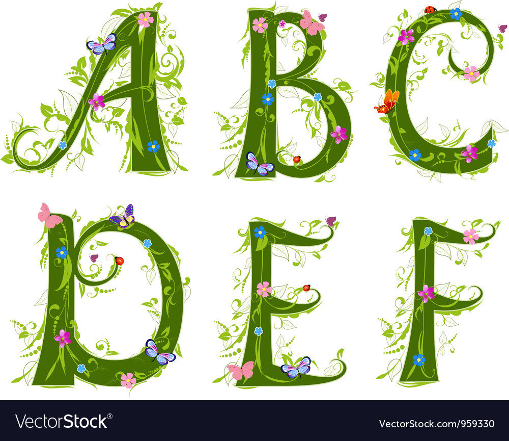 Foliage letter 1 vector | Price: 3 Credit (USD $3)