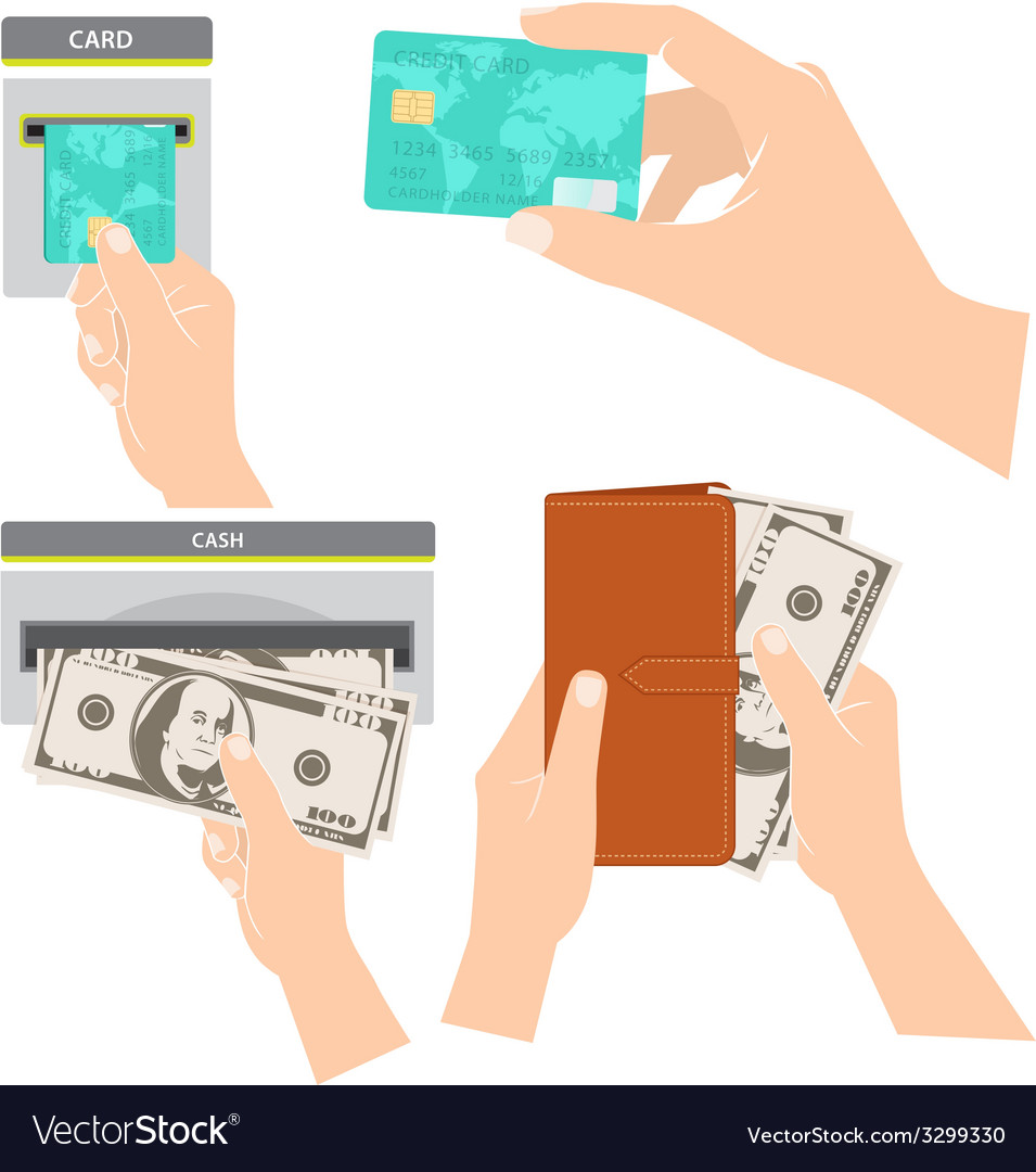 Hands holding money credit card and purse vector | Price: 1 Credit (USD $1)
