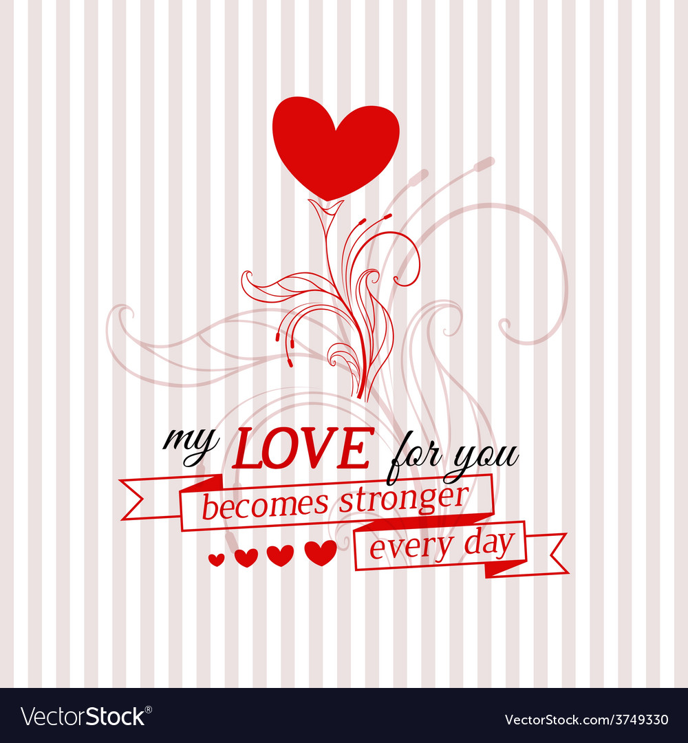 Happy valentines day card with growing flower vector | Price: 1 Credit (USD $1)