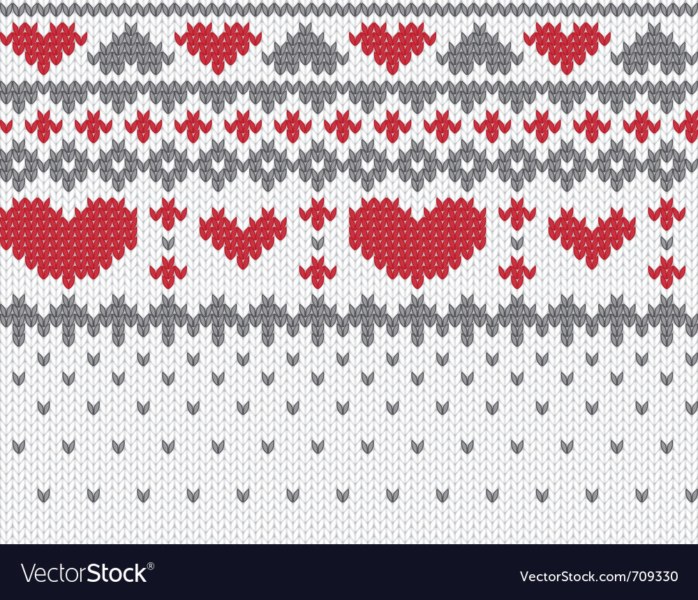 Knitted pattern with hearts vector | Price: 1 Credit (USD $1)