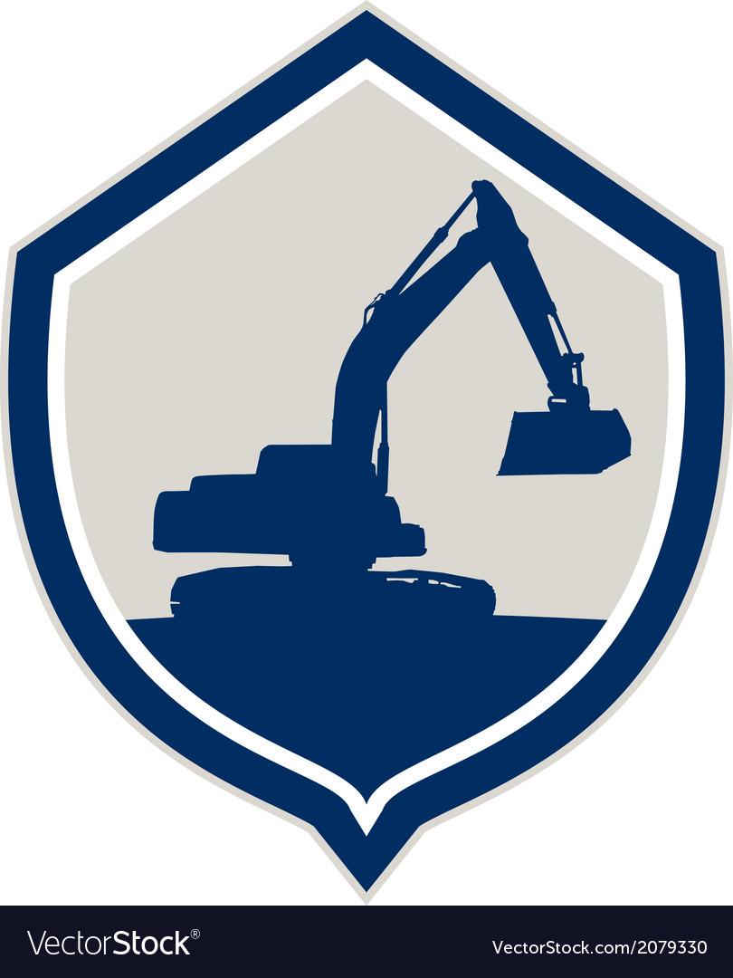 Mechanical digger excavator shield retro vector | Price: 1 Credit (USD $1)