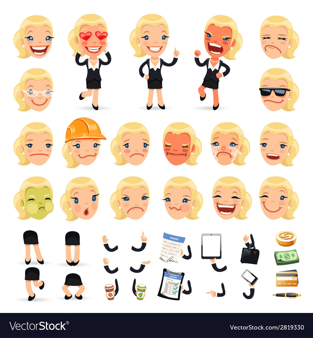 Set of cartoon businesswoman character for your vector | Price: 1 Credit (USD $1)
