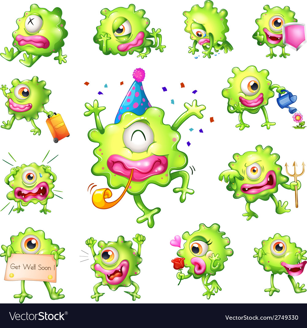 Set of green monsters vector | Price: 1 Credit (USD $1)