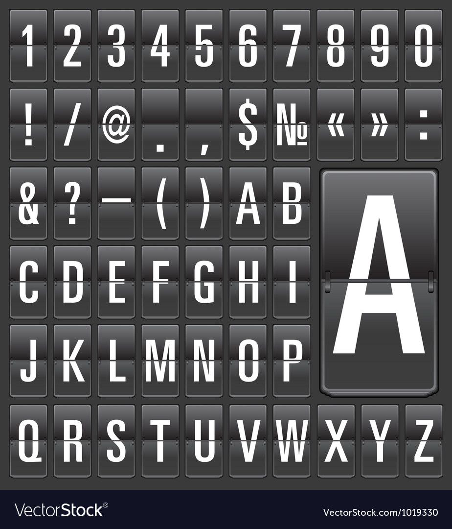 Set of letters on a mechanical timetable vector   Price: 1 Credit (USD $1)