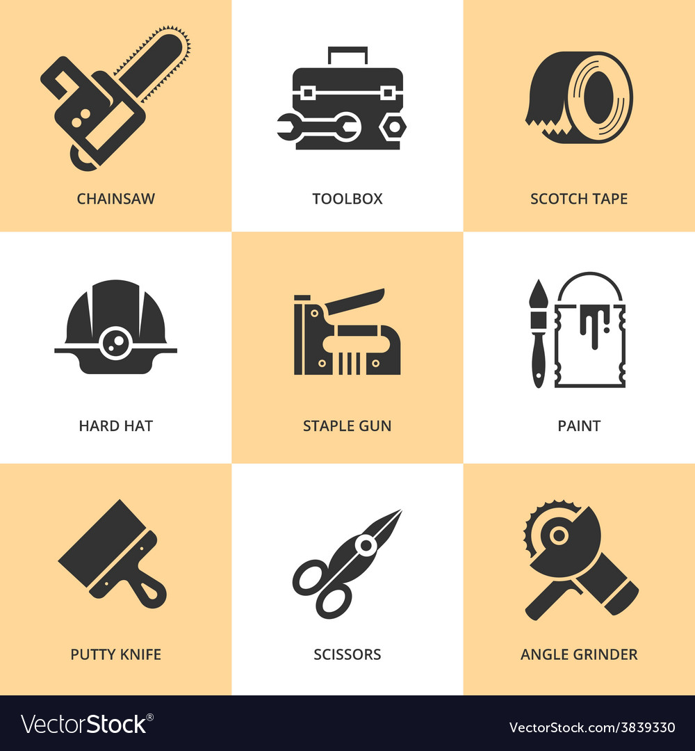 Trendy flat working tools icons black silhouettes vector | Price: 1 Credit (USD $1)