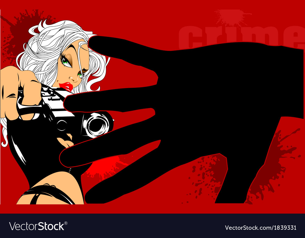 Blonde woman with gun vector | Price: 1 Credit (USD $1)