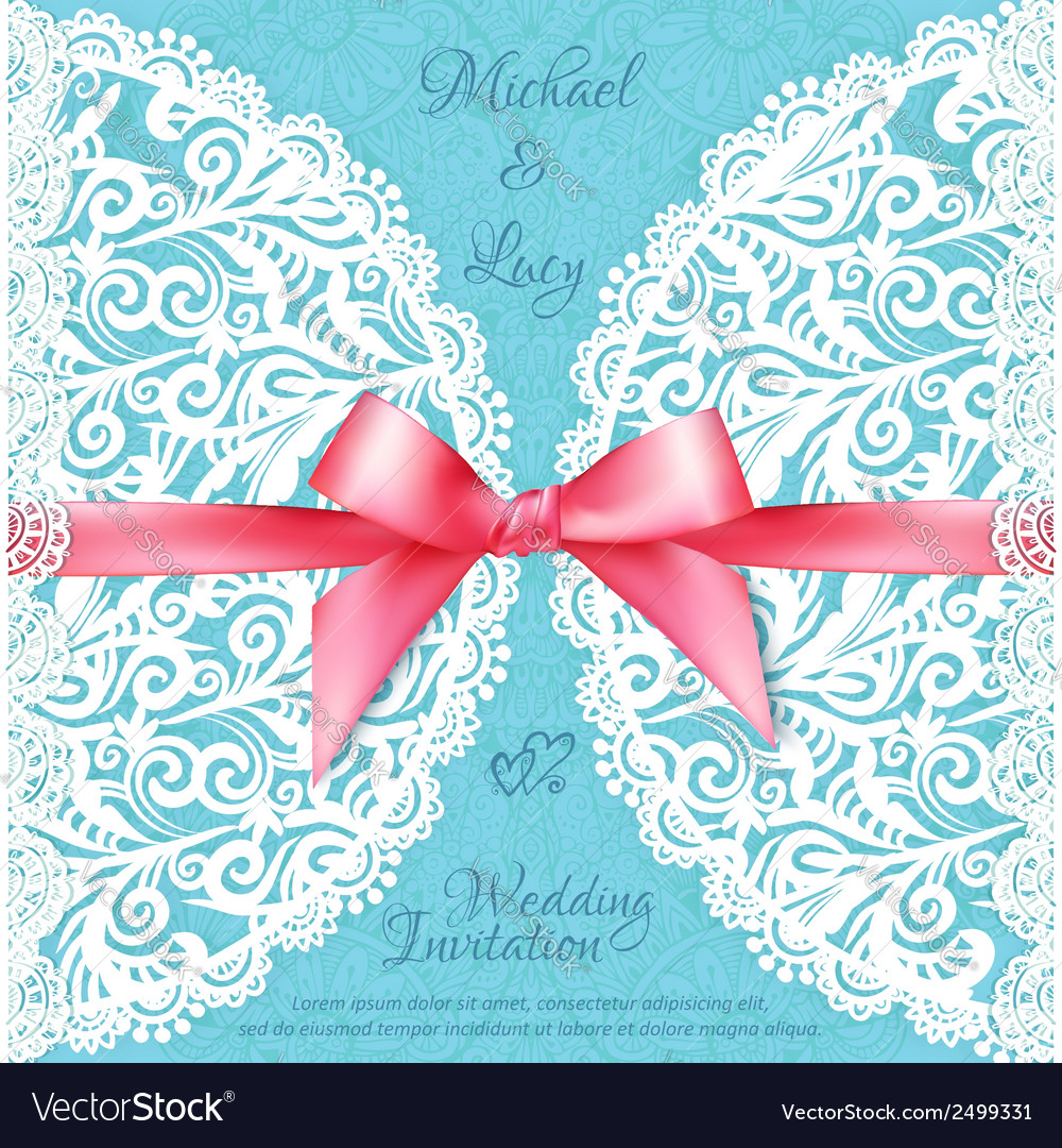 Blue lacy wedding card template vector | Price: 1 Credit (USD $1)