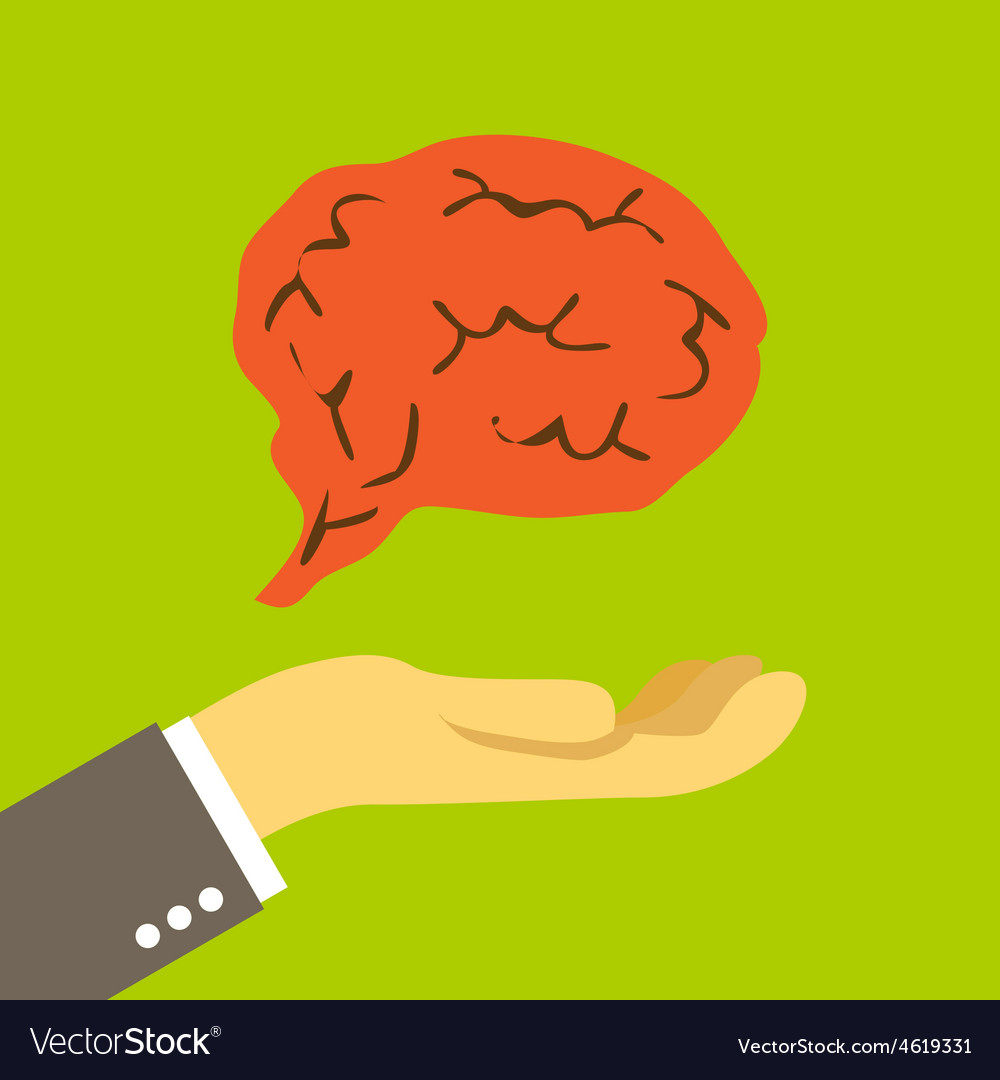 Brain on the palm vector   Price: 1 Credit (USD $1)