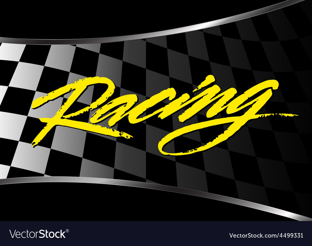 Checkered flag background with racing script vector