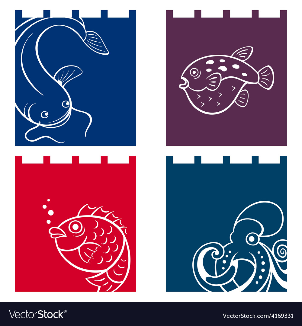 Fish fabric designs vector | Price: 1 Credit (USD $1)