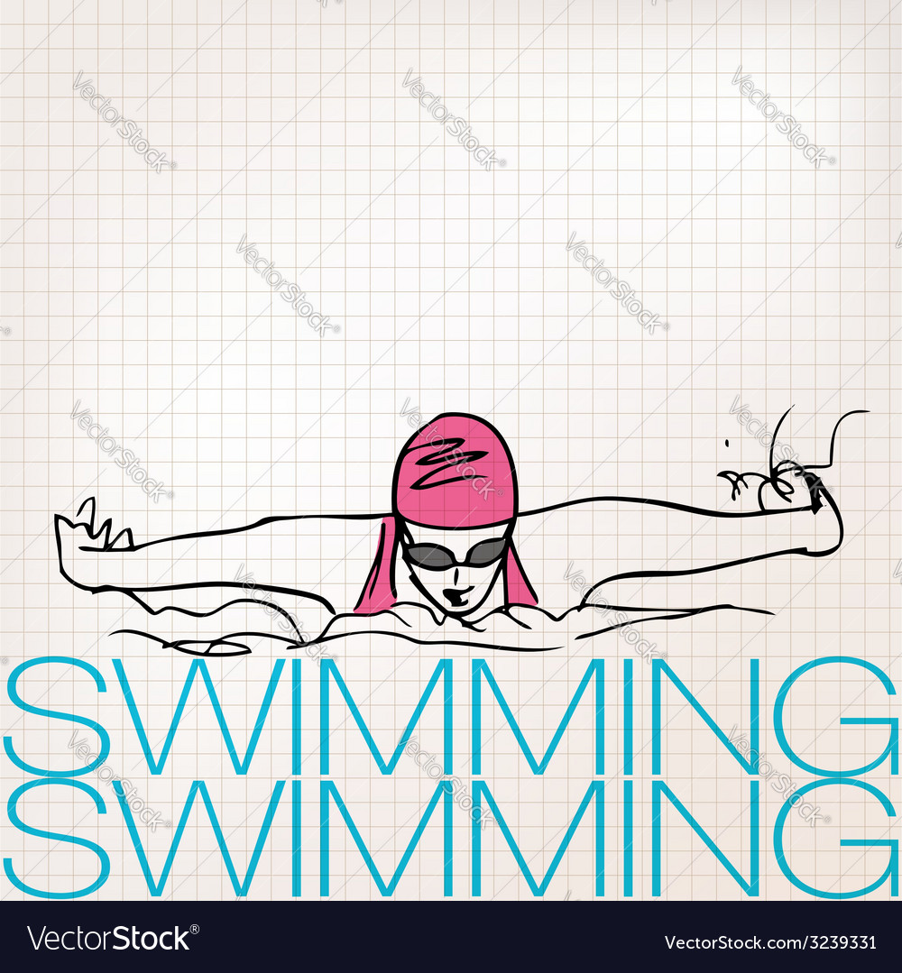 Girl swimming in butterfly stroke style vector   Price: 1 Credit (USD $1)