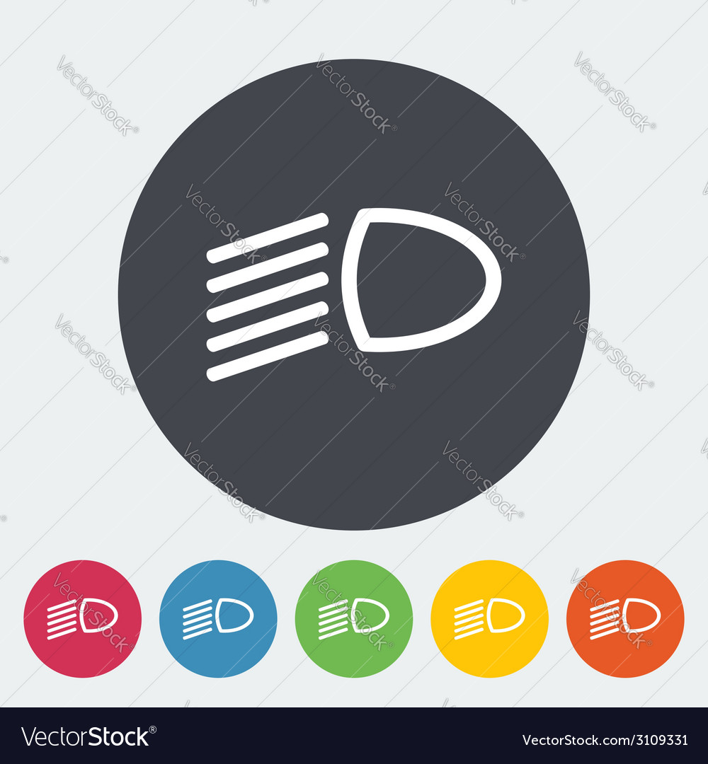 Headlight flat icon vector | Price: 1 Credit (USD $1)