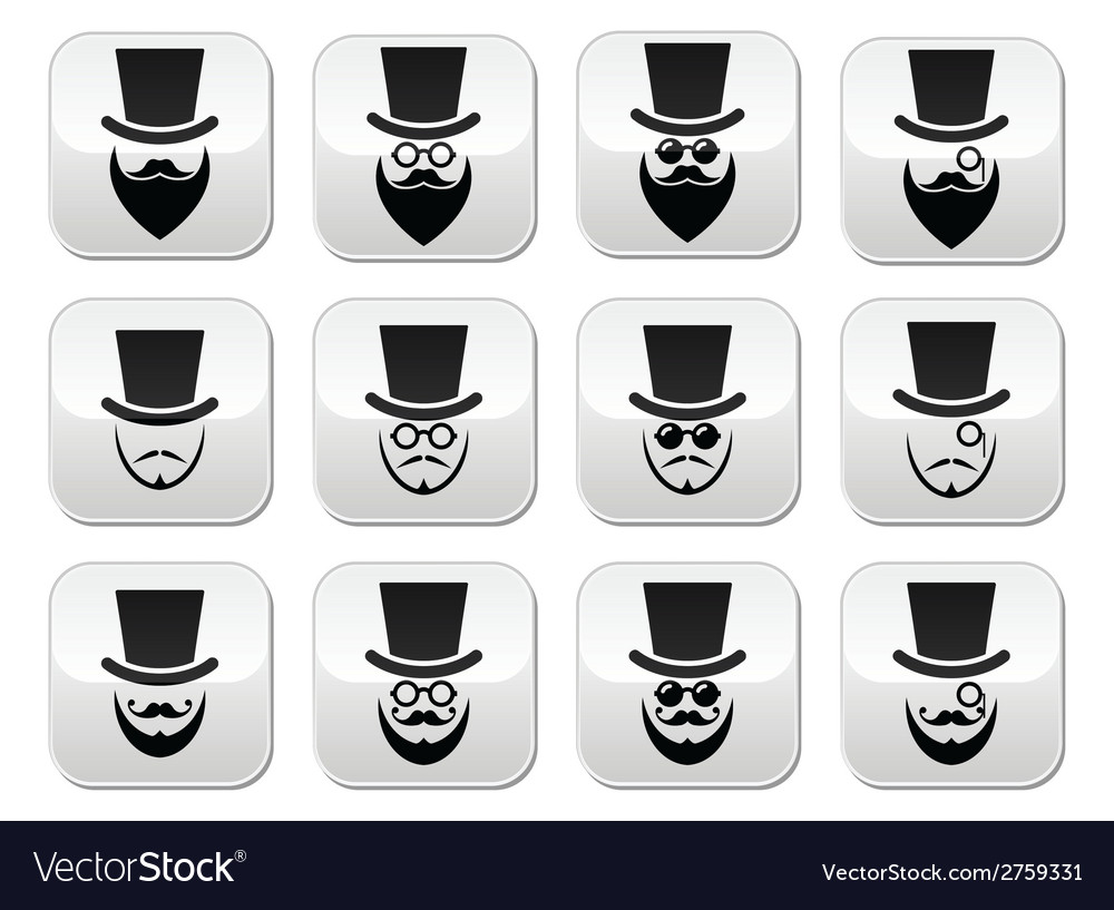 Man with hat with beard and glasses buttons set vector | Price: 1 Credit (USD $1)