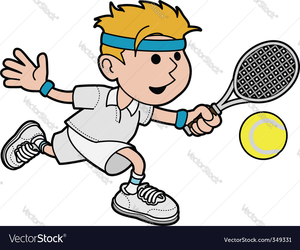 Illustration of male tennis player vector | Price: 1 Credit (USD $1)