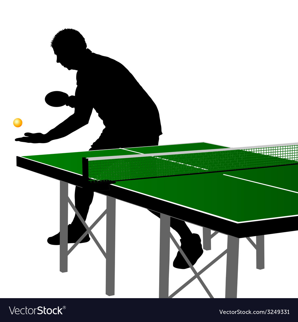Ping pong player silhouette three vector | Price: 1 Credit (USD $1)