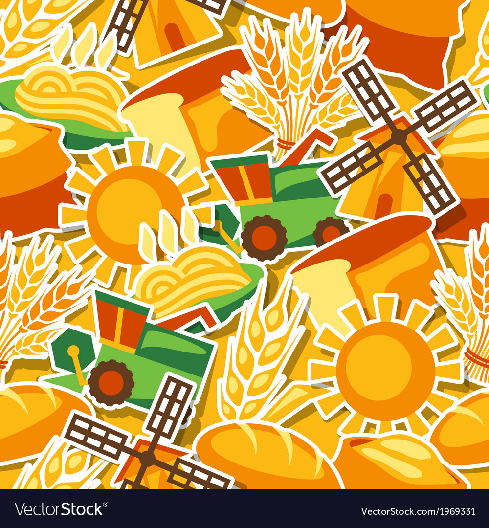 Seamless pattern with agricultural objects vector | Price: 1 Credit (USD $1)