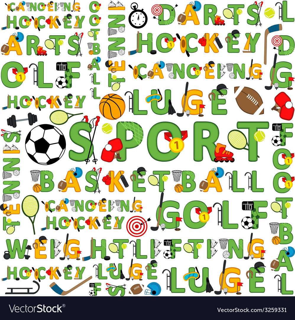 Seamless sport pattern of words vector | Price: 1 Credit (USD $1)