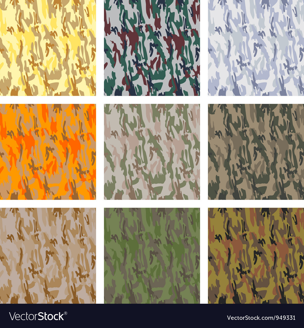 Set of seamless camouflage patterns vector | Price: 1 Credit (USD $1)