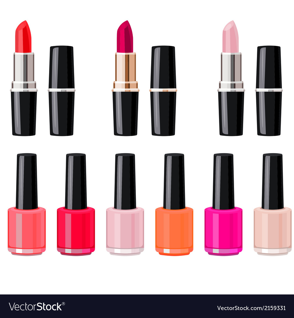 Set with lipsticks and nail varnish vector | Price: 1 Credit (USD $1)