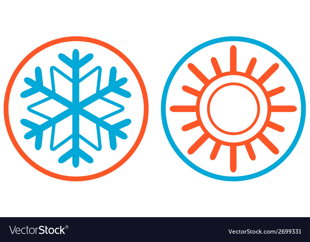 Snowflake and sun isolated icon vector | Price: 1 Credit (USD $1)