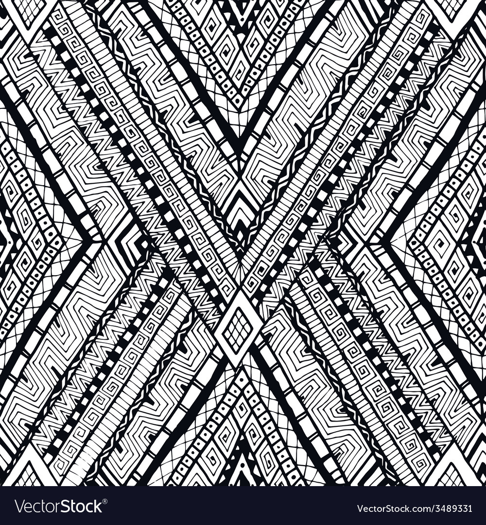 Tribal doddle rhombus seamless background vector | Price: 1 Credit (USD $1)