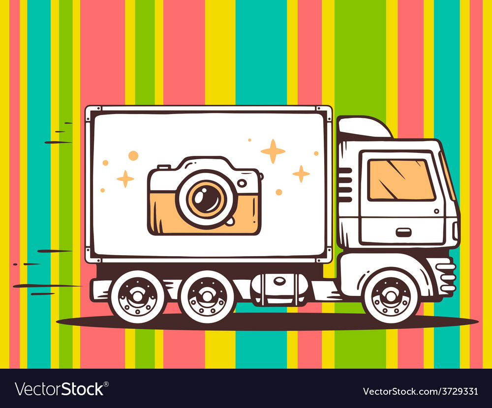 Truck free and fast delivering photo came vector | Price: 1 Credit (USD $1)