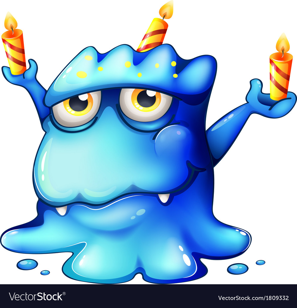 A blue monster celebrating a birthday vector | Price: 1 Credit (USD $1)