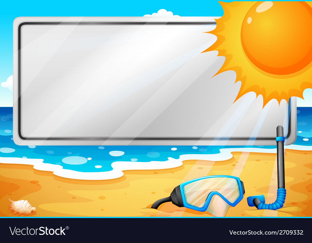 An empty signage at the beach vector | Price: 1 Credit (USD $1)