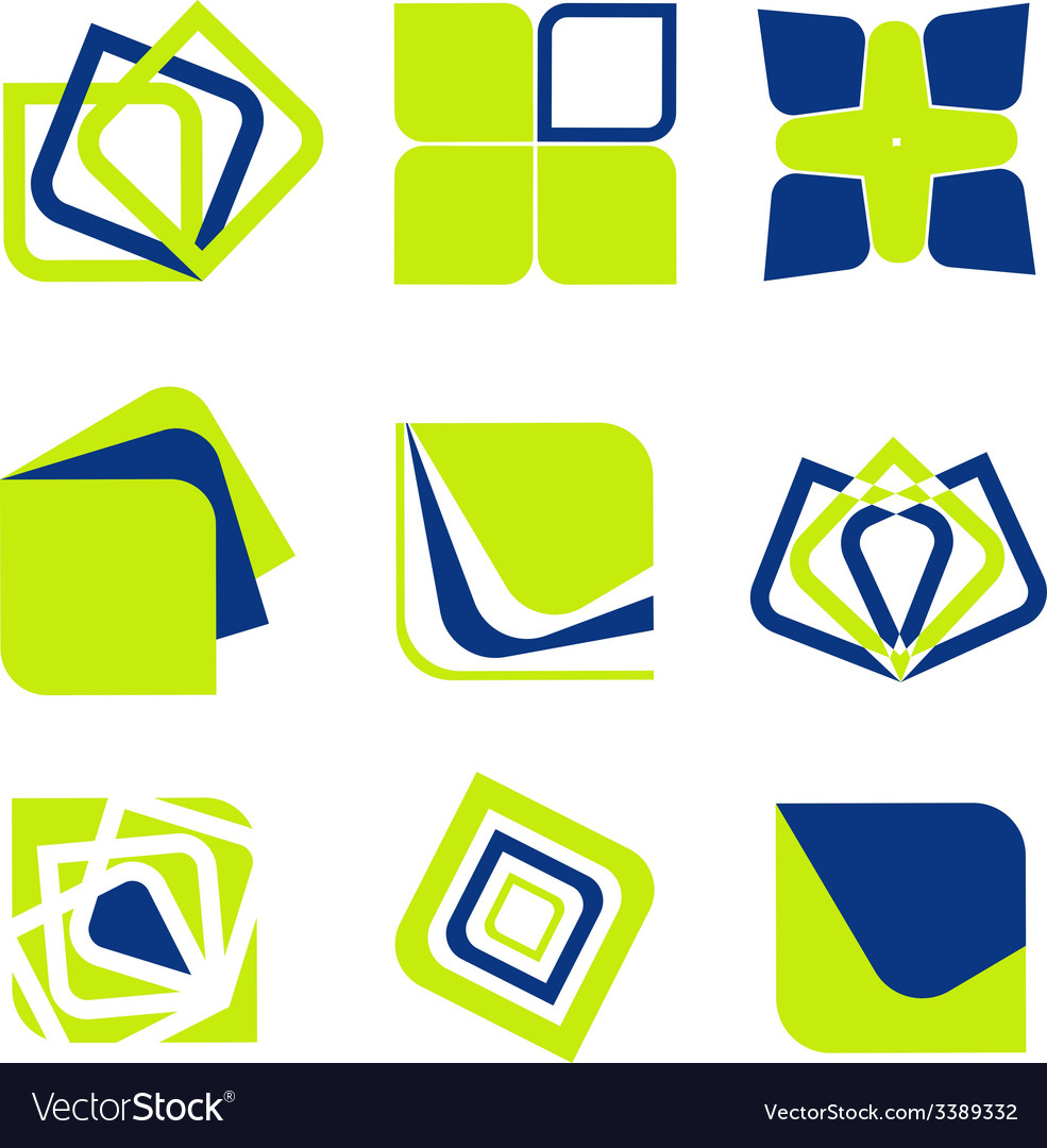Blue green abstract business icon collection vector | Price: 1 Credit (USD $1)