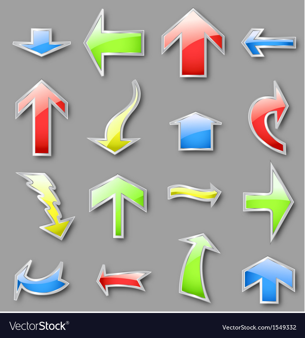 Different arrows in various colors vector | Price: 1 Credit (USD $1)