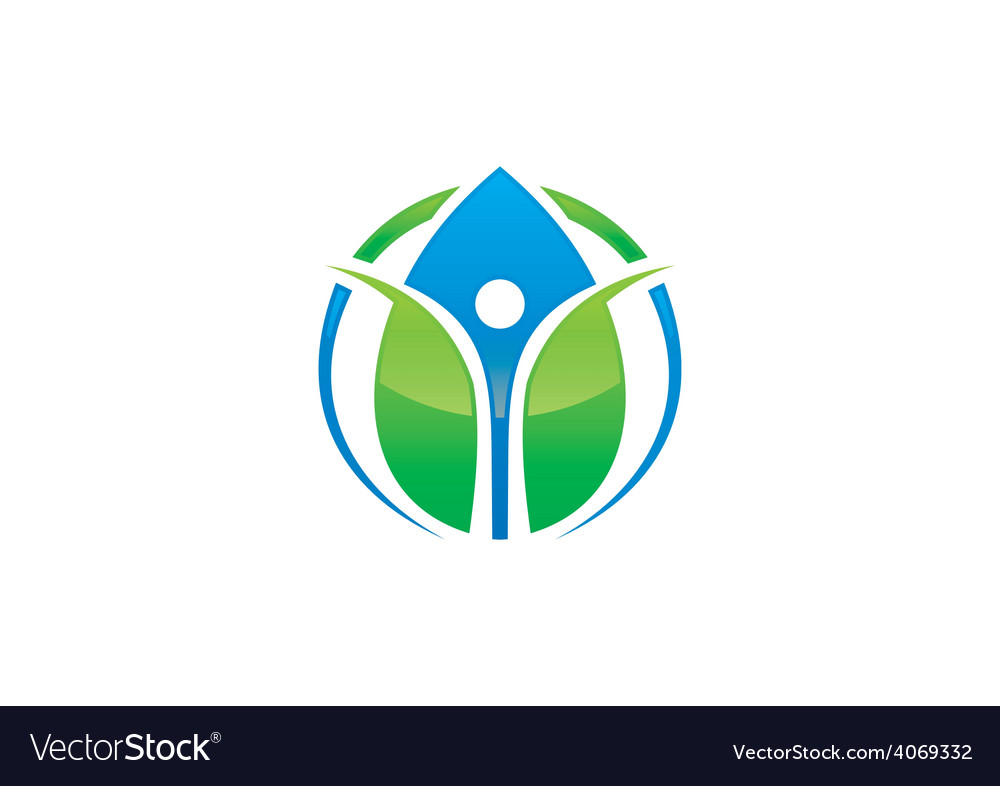 Green ecology blue water drop health people logo vector | Price: 1 Credit (USD $1)