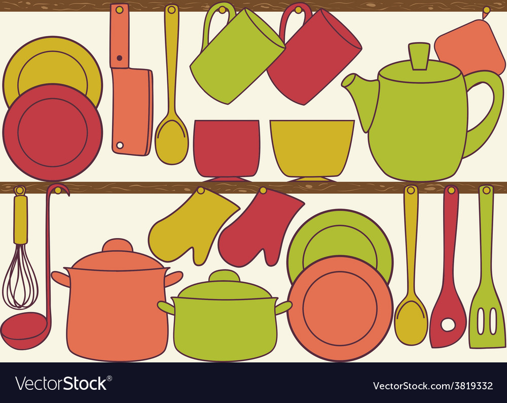 Kitchen utensils on shelves - seamless pattern vector | Price: 1 Credit (USD $1)
