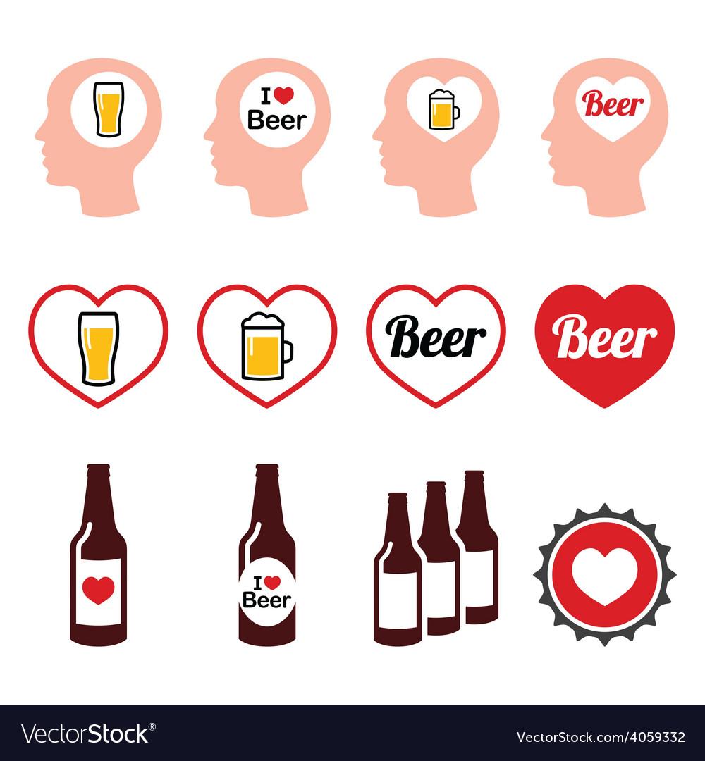 Man loving beer icons set vector | Price: 1 Credit (USD $1)