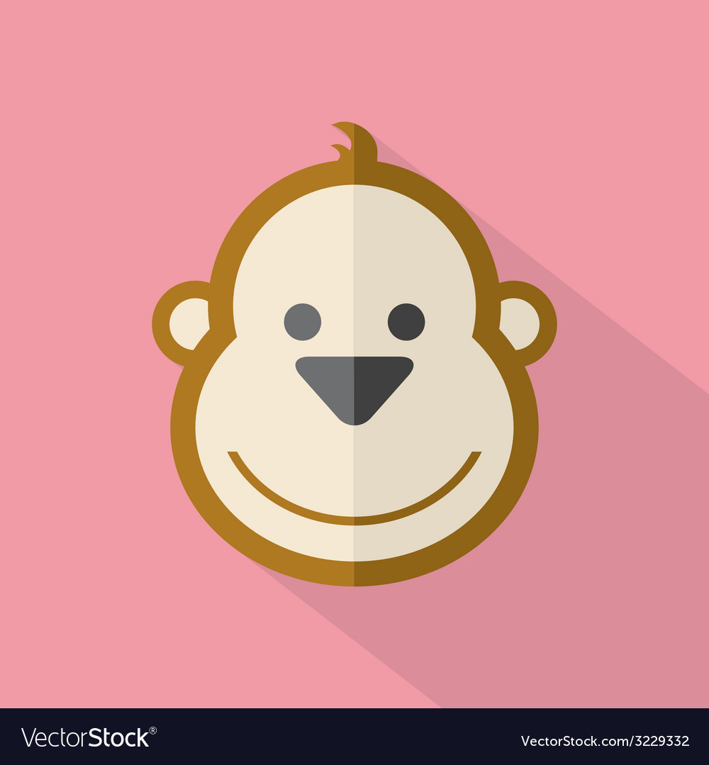 Modern flat design monkey icon vector