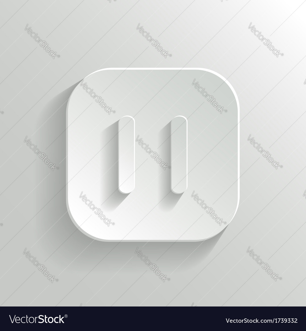 Pause icon - media player icon - white app button vector | Price: 1 Credit (USD $1)
